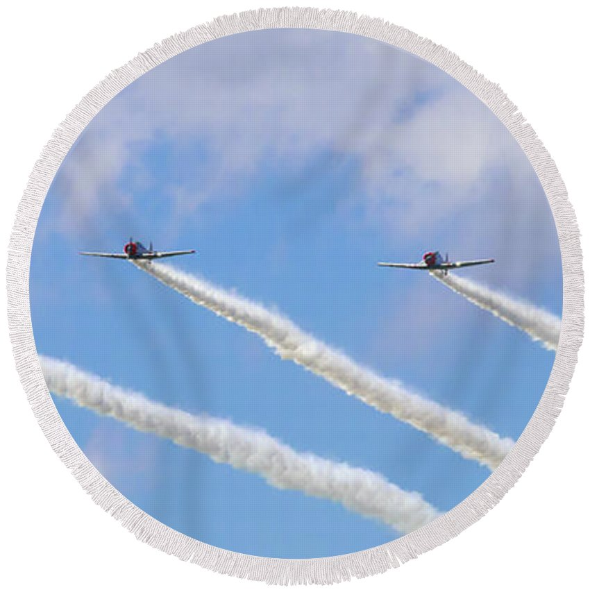 Military Round Beach Towel featuring the photograph Military Planes by Travis Rogers