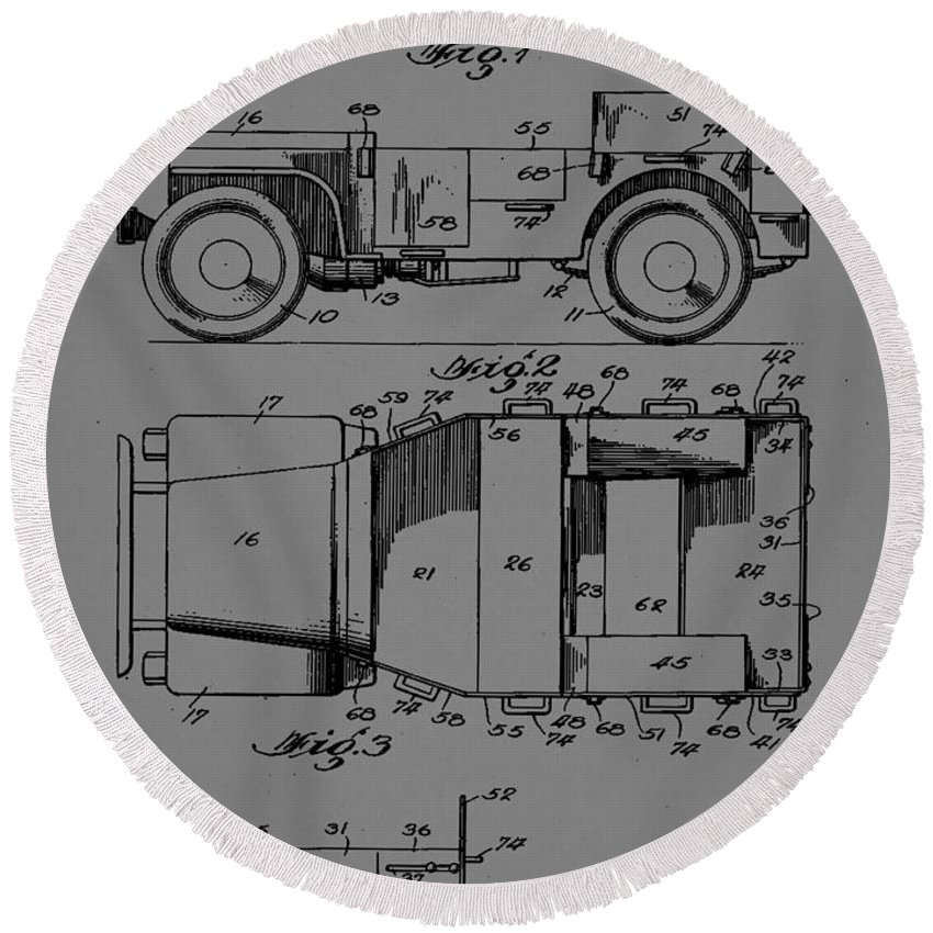 Patent Round Beach Towel featuring the mixed media Military Vehicle Body Patent Drawing 1d by Brian Reaves