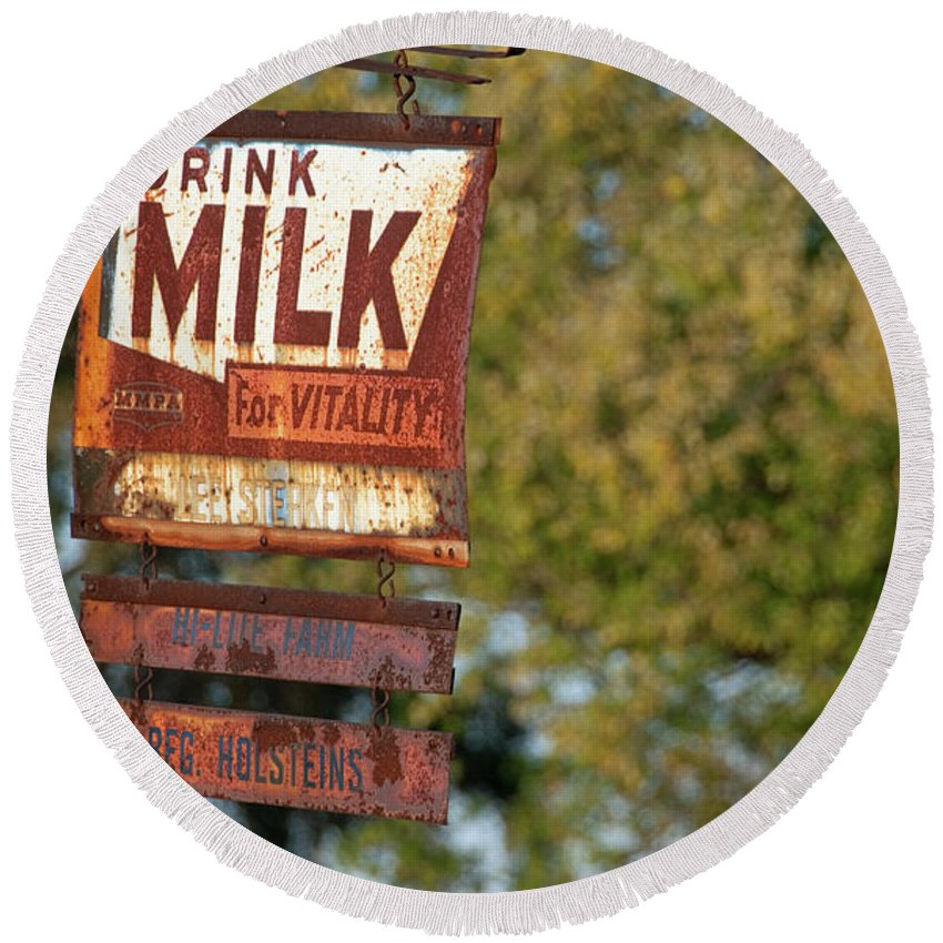 Milk Round Beach Towel featuring the photograph Milk Sign by David Arment