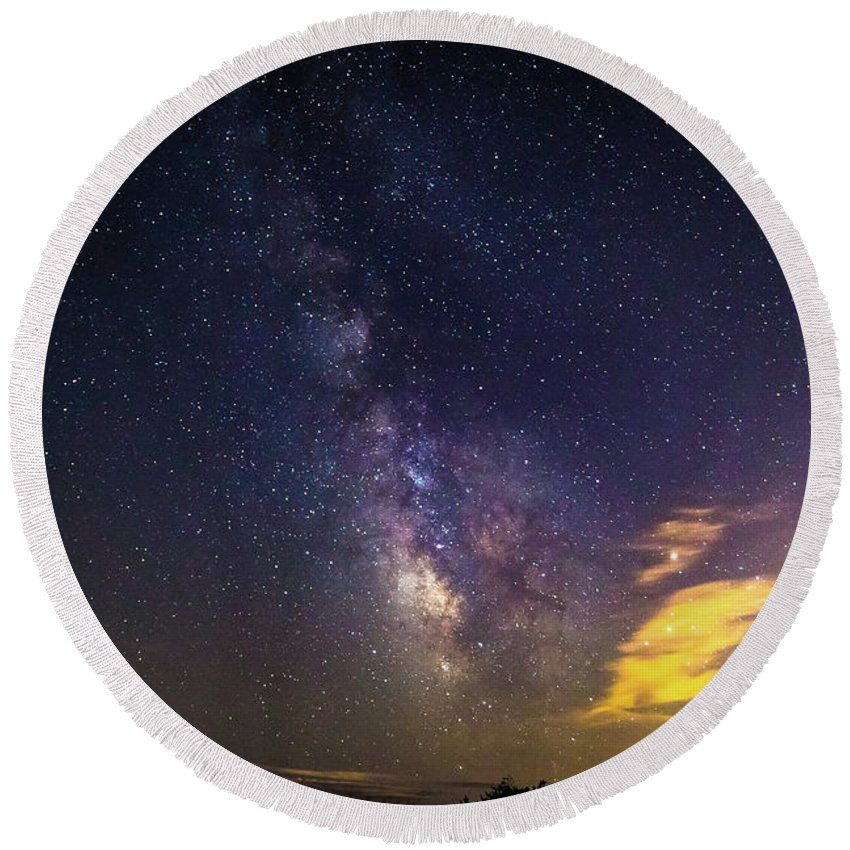 Photography Round Beach Towel featuring the photograph Milky Way Over The Boardwalk by Justin Starr
