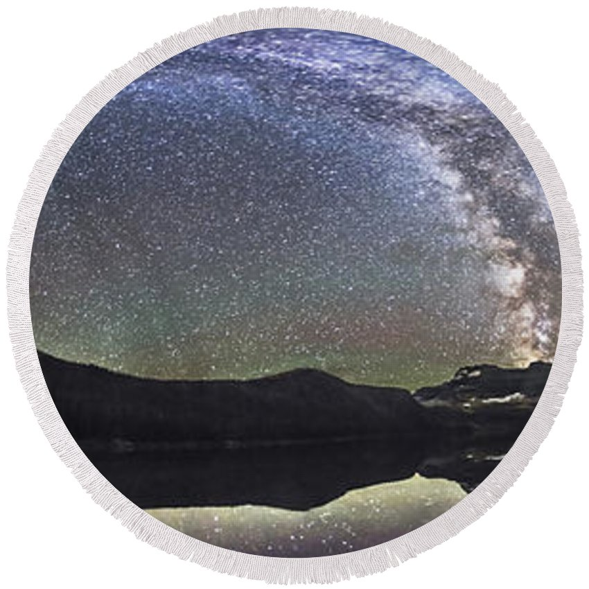 Alberta Round Beach Towel featuring the photograph Milky Way Panorama At Cameron Lake by Alan Dyer