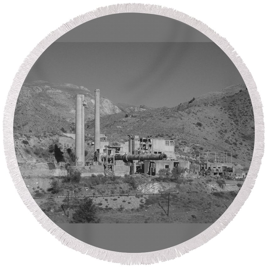 Mill Round Beach Towel featuring the photograph Mill And Stacks by Pat Turner