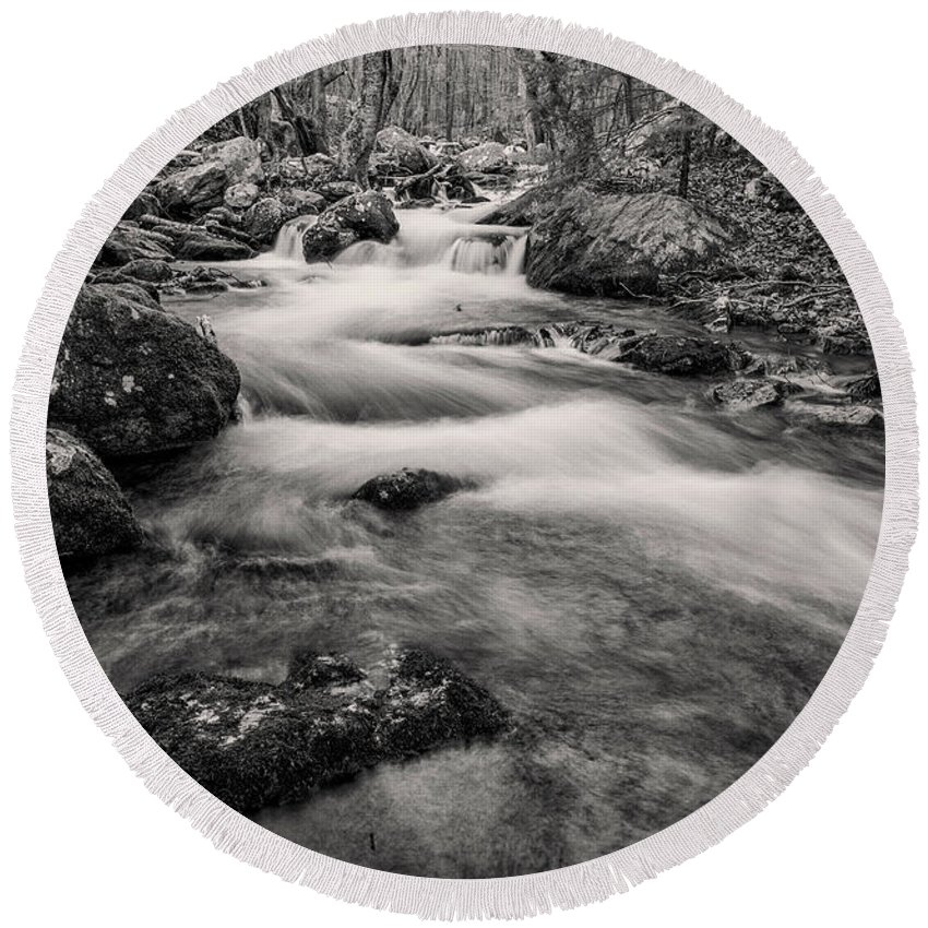 Virginia Round Beach Towel featuring the photograph Mill Creek Monochrome by Anthony Zeljeznjak