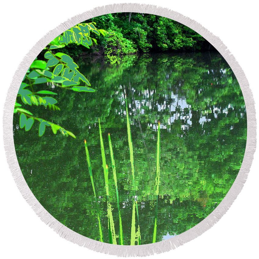 Black Creek Round Beach Towel featuring the photograph Mill Pond Reflections by Ian MacDonald