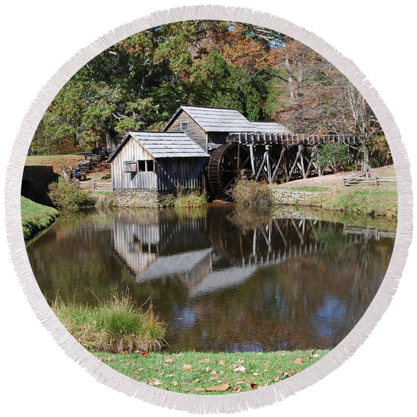 Virginia Round Beach Towel featuring the photograph Mill Reflections by Eric Liller