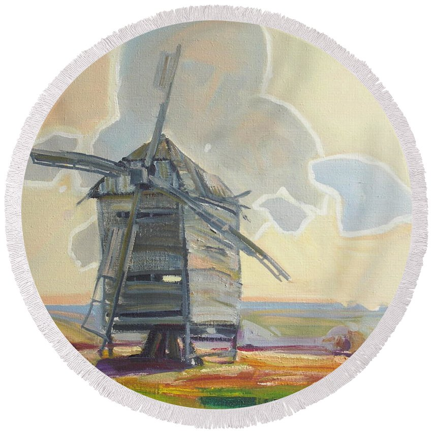 Oil Round Beach Towel featuring the painting Mill by Sergey Ignatenko