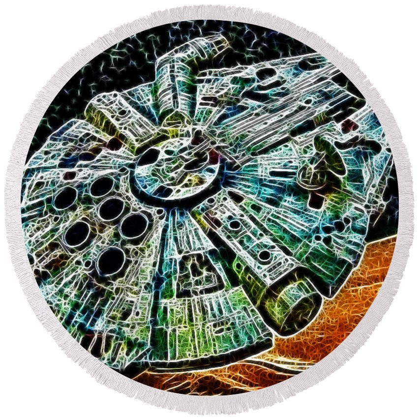 Han Solo Round Beach Towel featuring the photograph Millenium Falcon by Paul Ward
