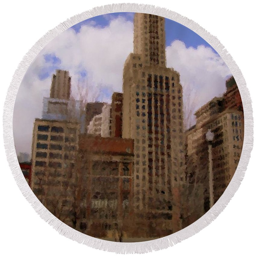 Chicago Round Beach Towel featuring the digital art Millenium Park And Bench 1 by Anita Burgermeister