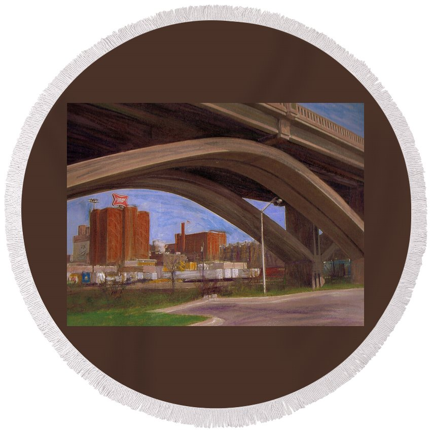 Mixed Media Round Beach Towel featuring the mixed media Miller Brewery Viewed Under Bridge by Anita Burgermeister