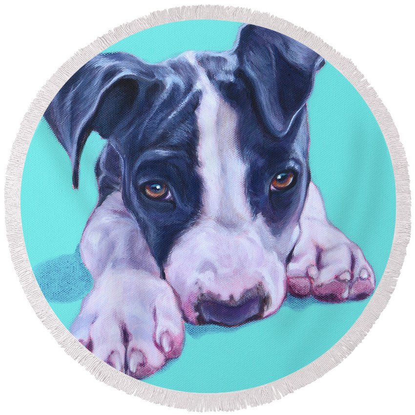 Blue American Staffy Round Beach Towel featuring the painting Millie by Deborah Cullen