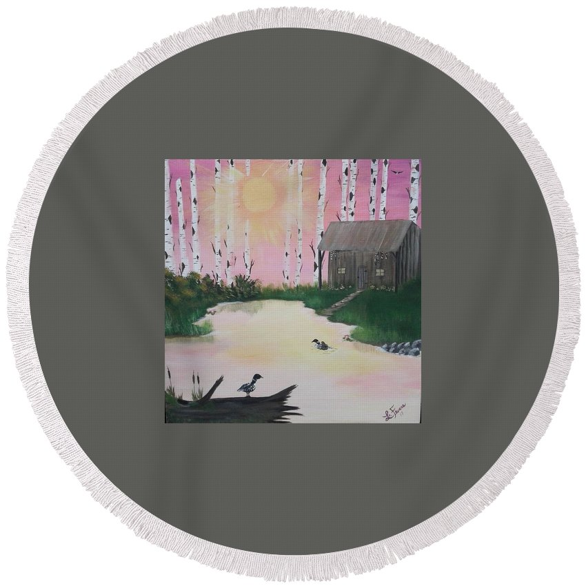 Loons Round Beach Towel featuring the painting Million Dollar View by Lori Lafevers