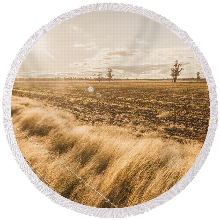 Agriculture Round Beach Towel featuring the photograph Millmerran by Jorgo Photography - Wall Art Gallery