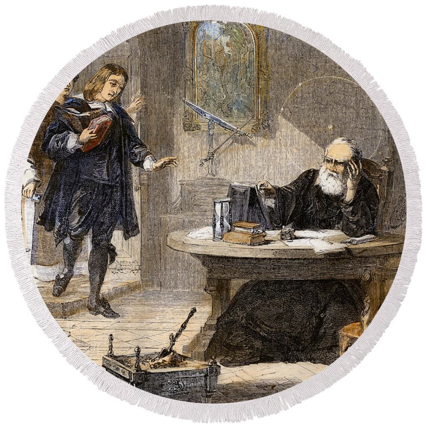 1638 Round Beach Towel featuring the drawing Milton And Galileo, 1638-39 by Granger