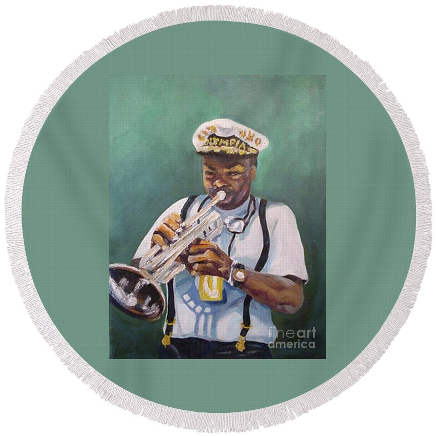 Oil Round Beach Towel featuring the painting Milton Baptiste by Beverly Boulet