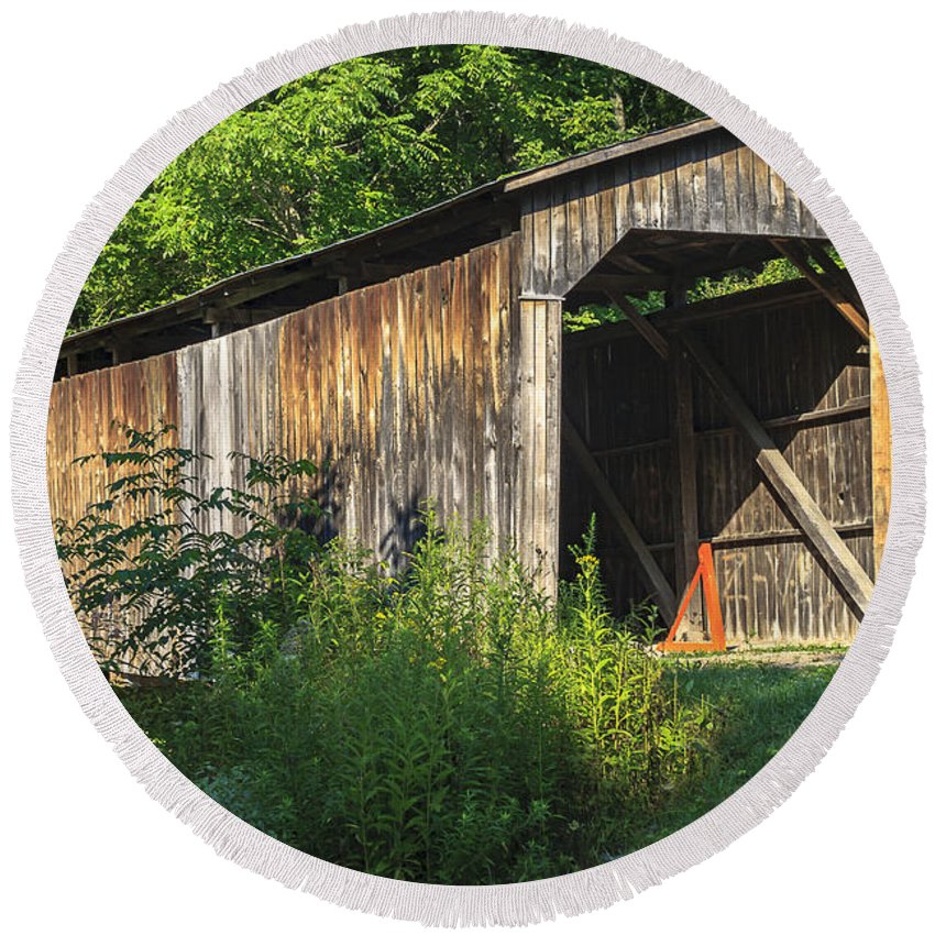 America Round Beach Towel featuring the photograph Milton Dye Covered Bridge by Jack R Perry