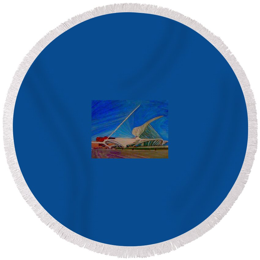 Mam Round Beach Towel featuring the mixed media Milwaukee Art Museum by Anita Burgermeister