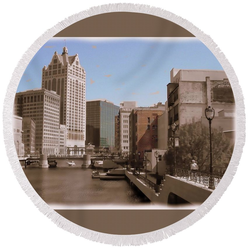 River Round Beach Towel featuring the digital art Milwaukee Riverwalk by Anita Burgermeister