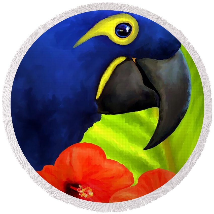 Hyacinth Macaw Round Beach Towel featuring the painting Mimi by David Wagner