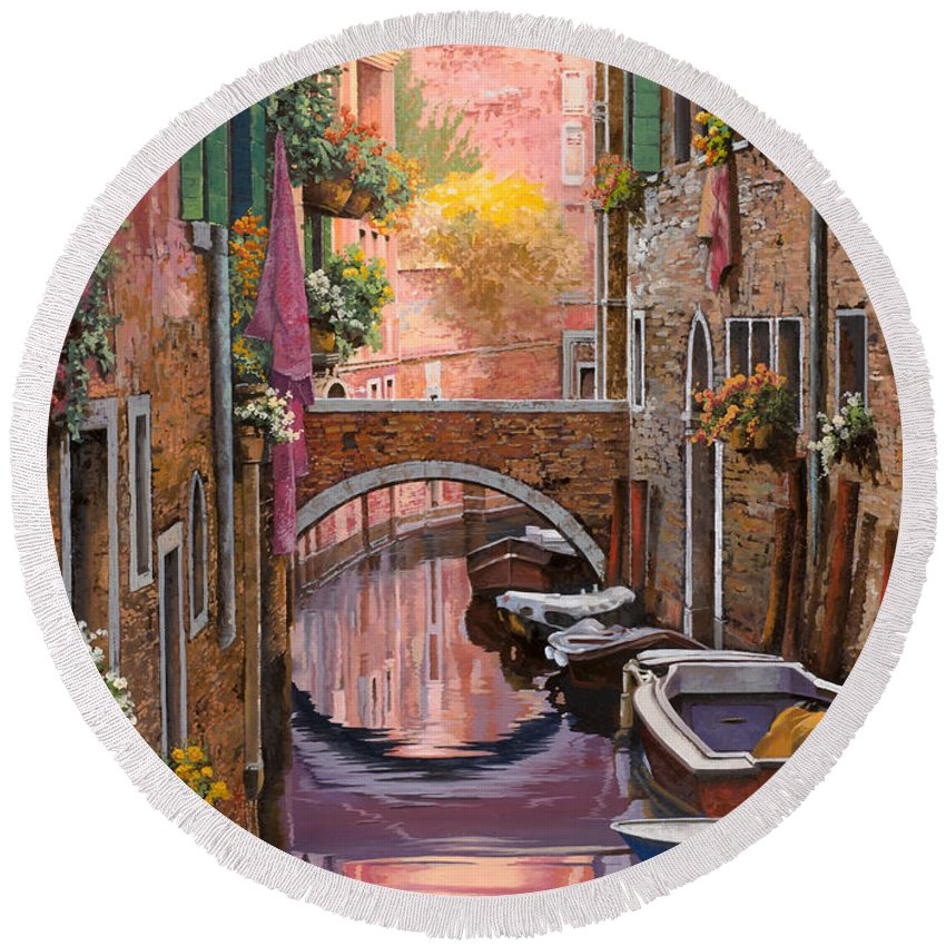 Venice Round Beach Towel featuring the painting Mimosa Sui Canali by Guido Borelli