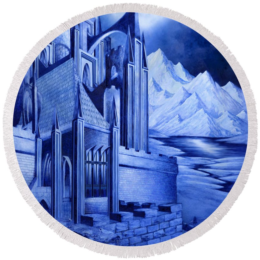 Lord Of The Rings Round Beach Towel featuring the mixed media Minas Tirith by Curtiss Shaffer