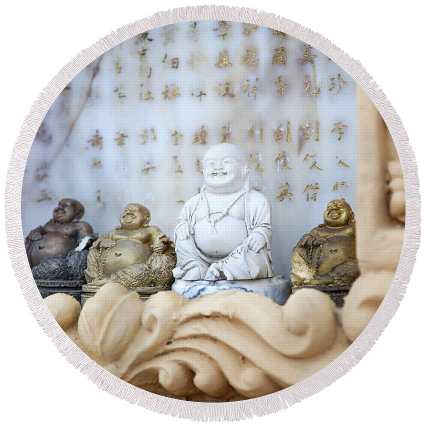 Buddhism Round Beach Towel featuring the photograph Minature Buddhas by Sophie McAulay