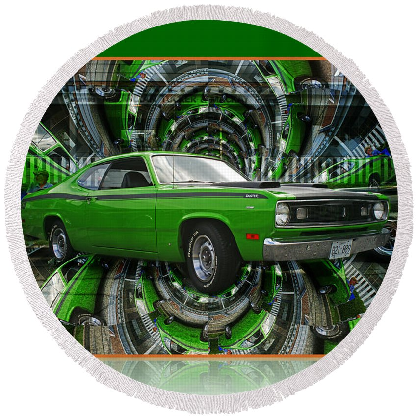 Old Cars Round Beach Towel featuring the photograph Mind Blown Duster Abstract by Randy Harris