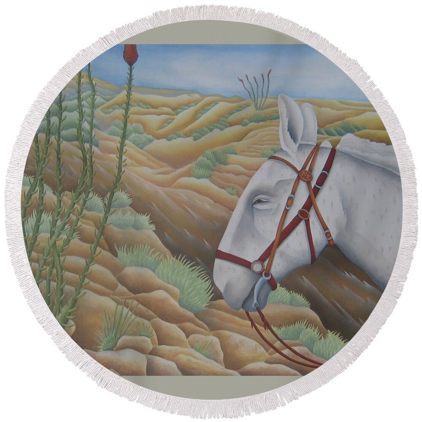 Burro Round Beach Towel featuring the painting Miner's Companion by Jeniffer Stapher-Thomas