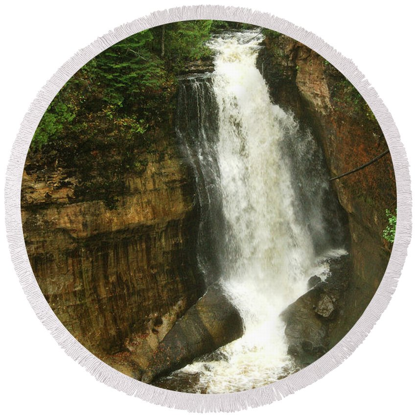 Miners Falls Round Beach Towel featuring the photograph Miners Falls by Michael Peychich