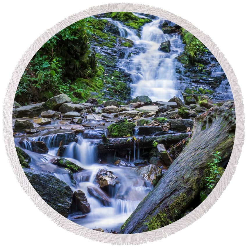 North Carolina Round Beach Towel featuring the photograph Mingo Falls Two by Van Sutherland