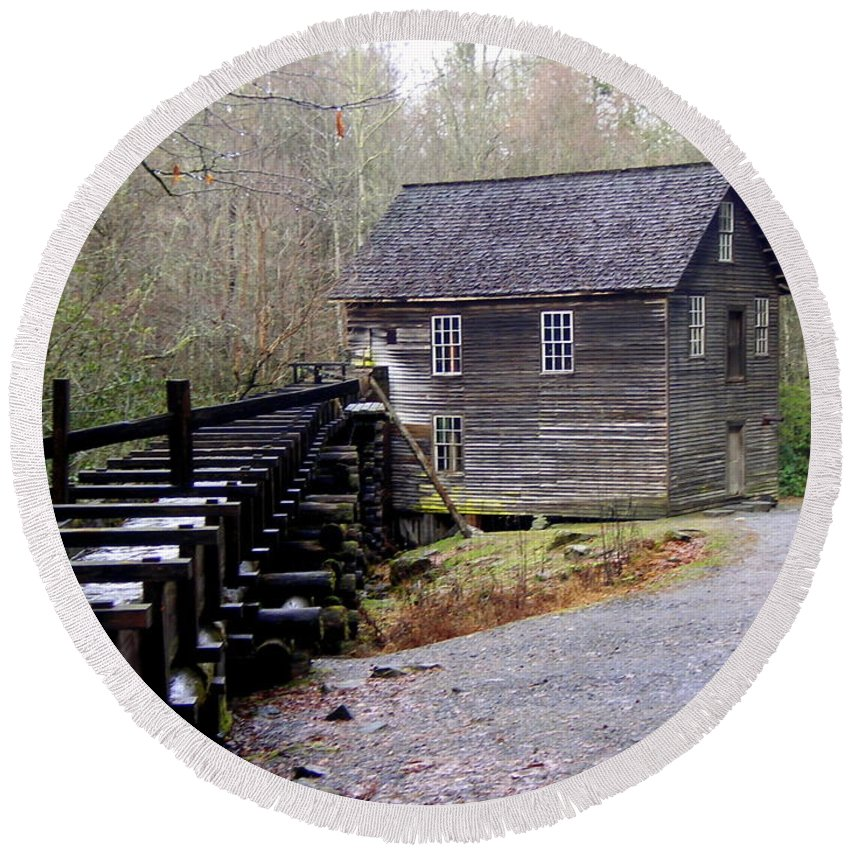 Great Smokey Mountain National Park Round Beach Towel featuring the photograph Mingus Mill by Marty Koch