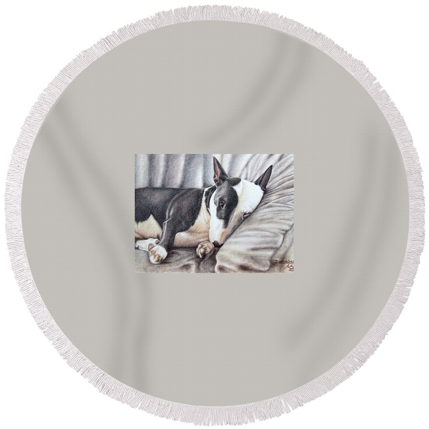 Dog Round Beach Towel featuring the drawing Mini Bulldog Terrier by Nicole Zeug