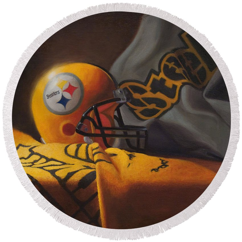 Steelers Round Beach Towel featuring the painting Mini Helmet Commemorative Edition by Joe Winkler