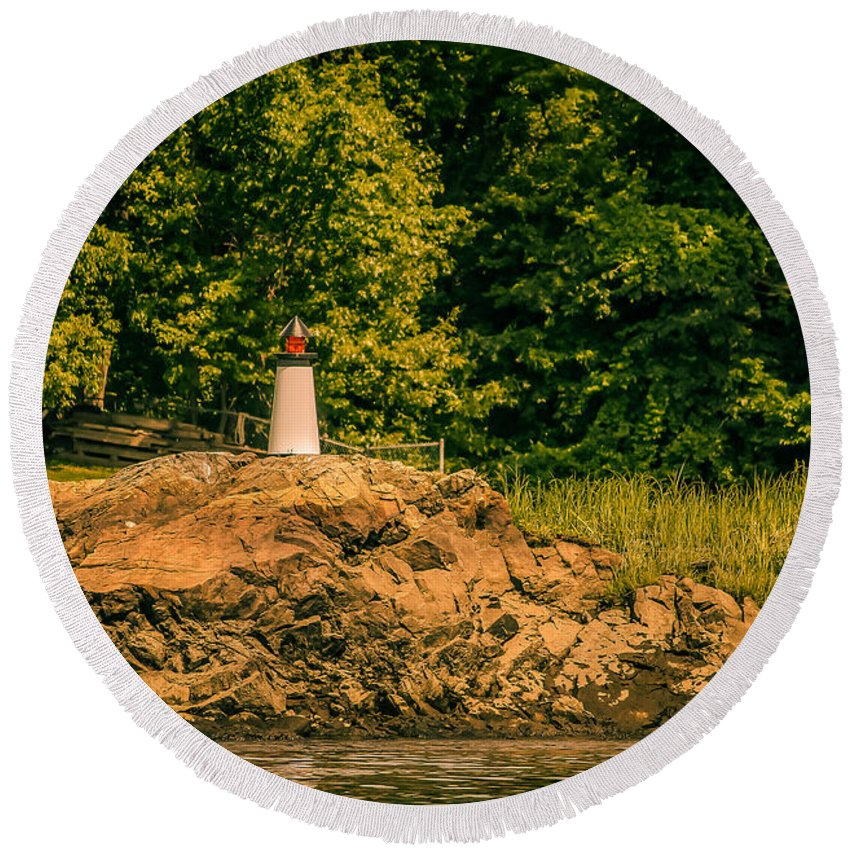 Nautical Round Beach Towel featuring the photograph Mini Lighthouse by Claudia M Photography