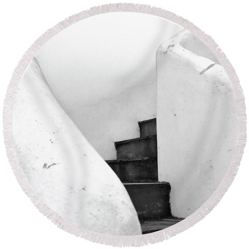 Minimal Round Beach Towel featuring the photograph Minimal Staircase by PrintsProject