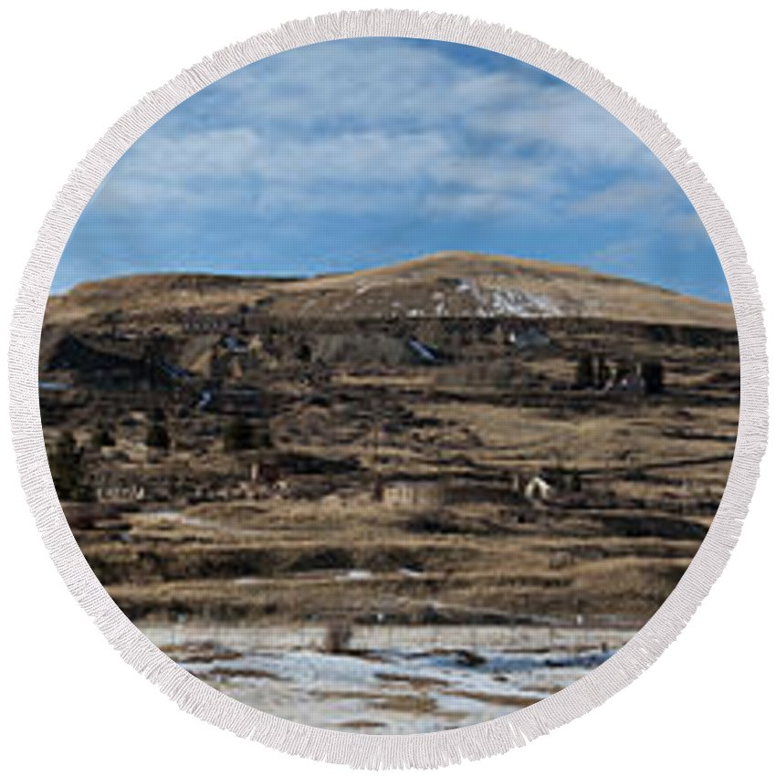 Panorama Round Beach Towel featuring the photograph Mining Town Panorama by Angus Hooper Iii
