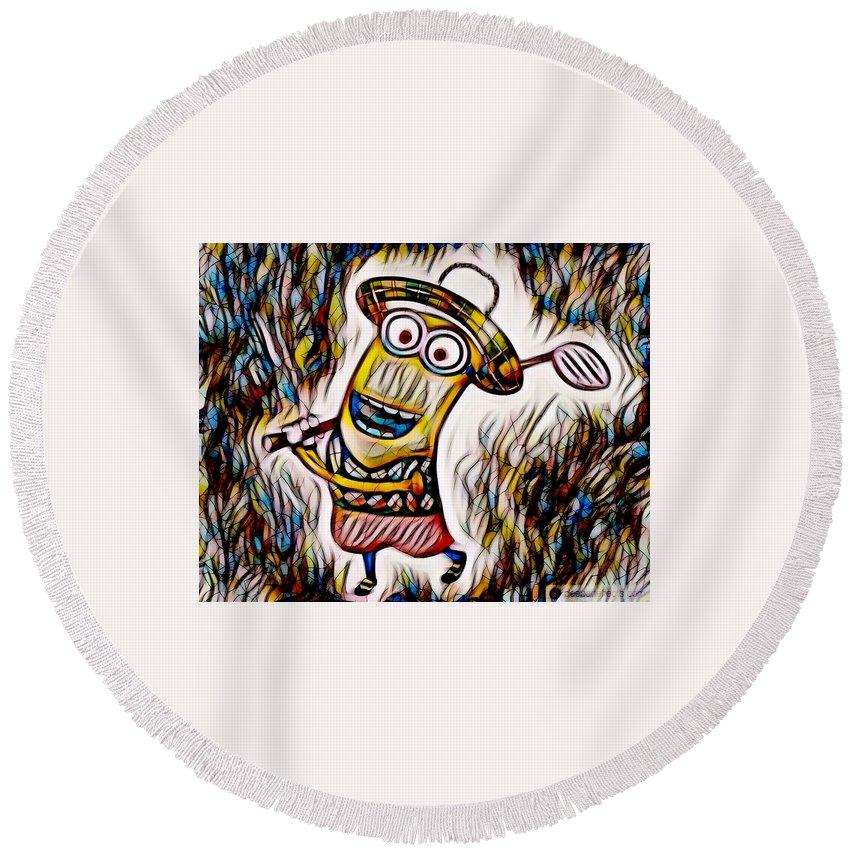 Minion Round Beach Towel featuring the digital art Minion 3 by Stefanie Beauregard