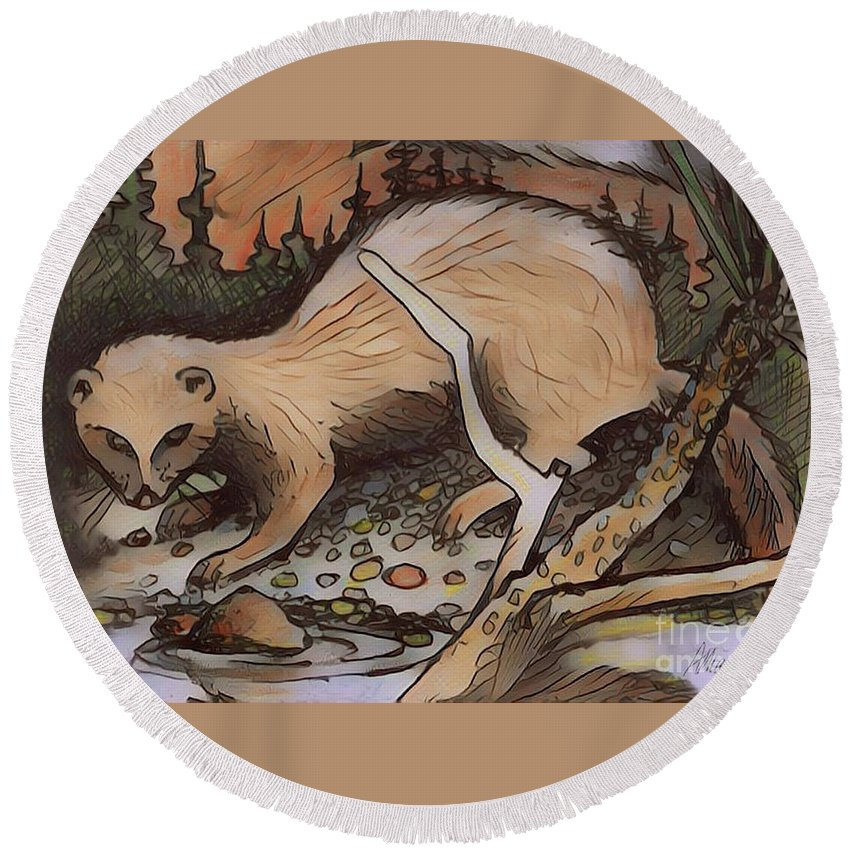 Mink Round Beach Towel featuring the digital art Mink At The Brook by Art MacKay