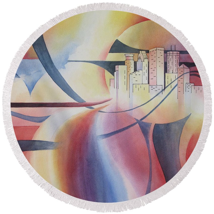 Minneapolis Skyline Round Beach Towel featuring the painting Minneapolis Cityscape by Deborah Ronglien
