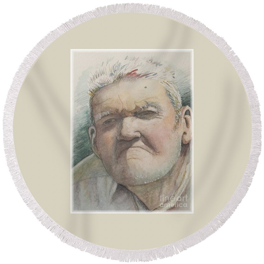 Portrait Round Beach Towel featuring the painting Minnesota Farmer by Nadine Rippelmeyer