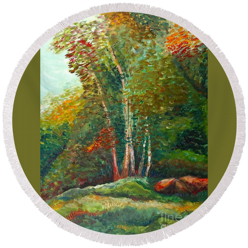 Landscape Round Beach Towel featuring the painting Minnesota Quartet by Nadine Rippelmeyer
