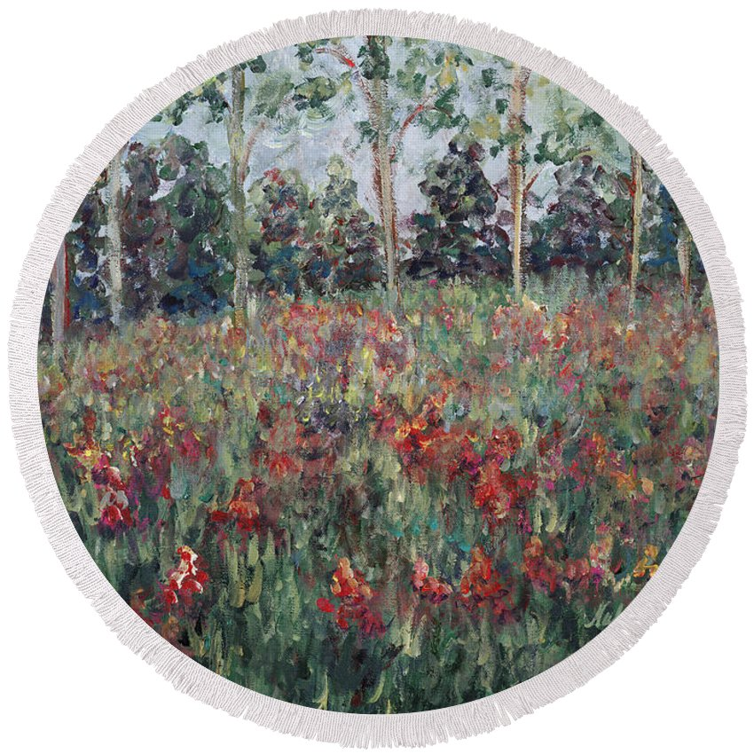 Landscape Round Beach Towel featuring the painting Minnesota Wildflowers by Nadine Rippelmeyer