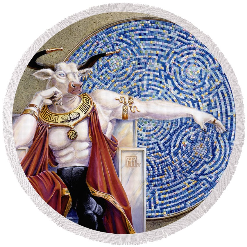 Anthropomorphic Round Beach Towel featuring the painting Minotaur With Mosaic by Melissa A Benson