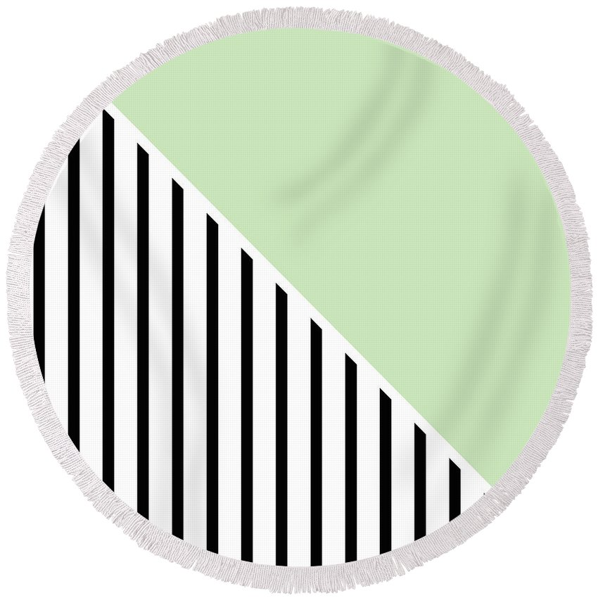 Mint Round Beach Towel featuring the digital art Mint and Black Geometric by Linda Woods