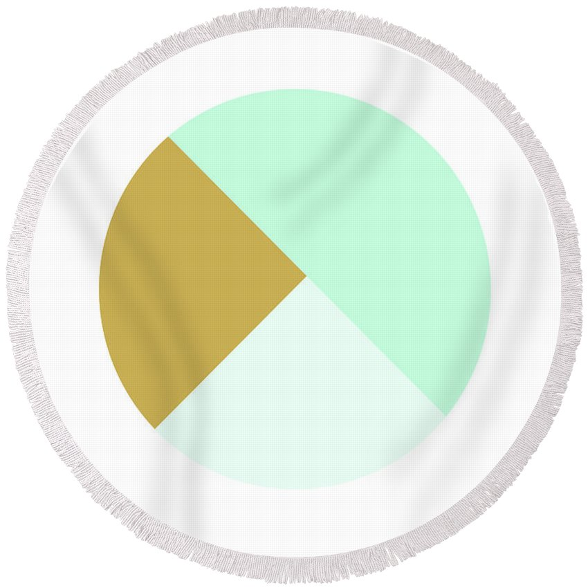 Round Round Beach Towel featuring the digital art Mint and Gold Ball- by Linda Woods by Linda Woods