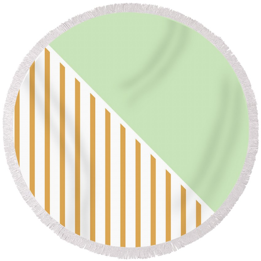 Mint Round Beach Towel featuring the digital art Mint and Gold Geometric by Linda Woods