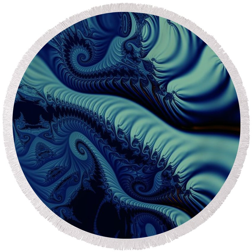 Fractal Image Round Beach Towel featuring the digital art Mint by Ron Bissett