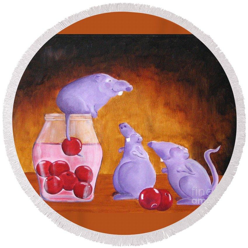 Mice Round Beach Towel featuring the painting Mioummmmmmmmmm Cherriesssssssssss by Line Gagne