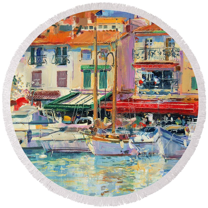 Pier Round Beach Towel featuring the painting Mirabeau by Peter Graham