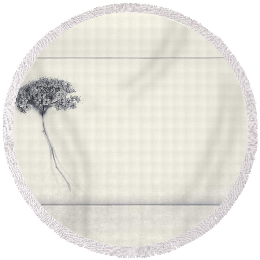 Flower Round Beach Towel featuring the photograph Miracle Of A Single Flower by Scott Norris