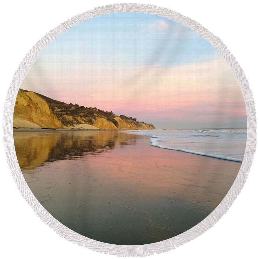Landscape Round Beach Towel featuring the photograph Miraculous Mirror by JoJo Brown